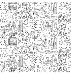 Winter doodle seamless pattern vector image vector image