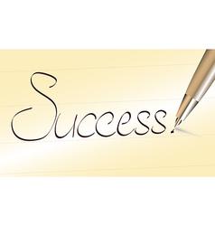 Word success written by pen vector image