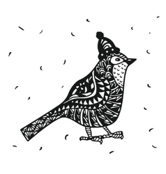 Zentagle robin bird in a Christmas hat graphics vector image vector image