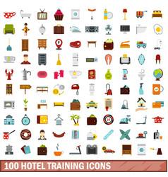 100 hotel training icons set flat style vector
