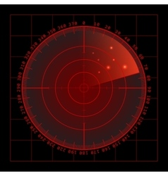 Military green radar screen with target vector