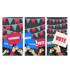 Voters support people with placards vector image