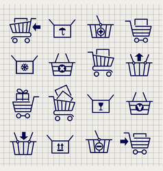 Shopping cart or trolley sketch icons vector