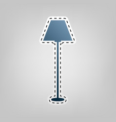 lamp simple sign  blue icon with outline vector image