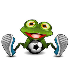 Frog sitting with a soccer ball vector