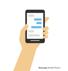 Hand holding smartphone chat and messaging vector
