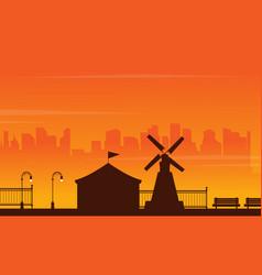 Beauty landscape amusement park silhouettes vector