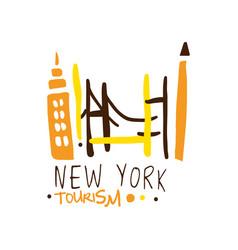 New york tourism logo template hand drawn vector