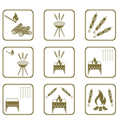 Grilled kebab icons set vector