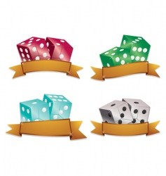 Dice with gold banners vector