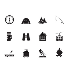 Silhouette tourism and mountain objects vector