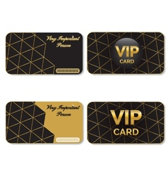 Vip cards black and gold vector