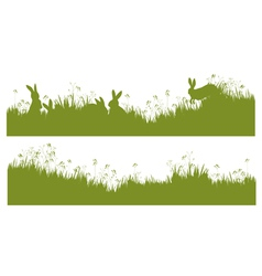 Rabbits grass background vector