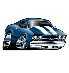 American classic muscle car cartoon vector