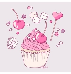 Hand drawn cherry cupcake clip art vector