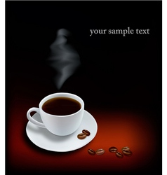 Cup coffee and beans black background vector