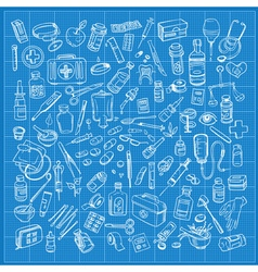 Health care and medicine doodle icon set vector