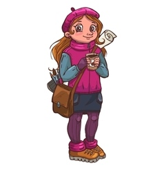 Young artist girl with cup of coffee in her hands vector image
