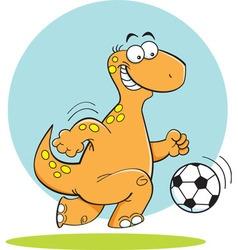 Cartoon dinosuar playing soccer vector image