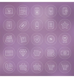 Line circle shop market e-commerce icons set vector