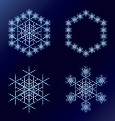 Four blue snowflakes on a dark blue background vector