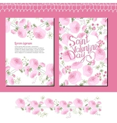 Wedding and valentine s floral templates with pink vector