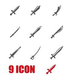 Grey sword icon set vector