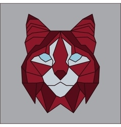 Red and grey low poly bobcat vector