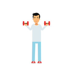 Active teen boy exercising with dumbells active vector
