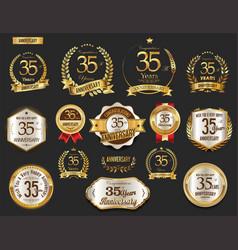 Anniversary golden laurel wreath and badges 35 vector