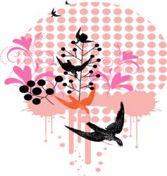 birds and floral vector image vector image
