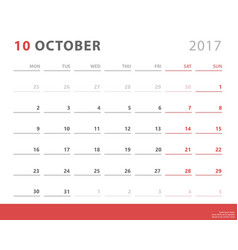 Calendar planner 2017 october week starts monday vector