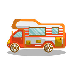 camping bus equiped with modern furniture and vector image vector image