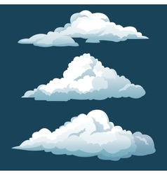 Cartoon three blue sky clouds vector