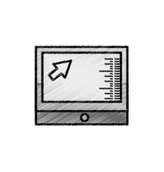 Computer screen technology sketch vector
