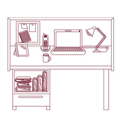 Dark red line contour of workplace home office vector