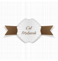 Eid mubarak greeting paper label vector