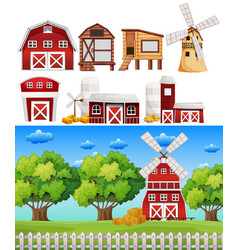 farm scene with different buildings vector image vector image