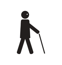 flat icon in black and white style man with stick vector image vector image