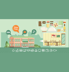 Flat of restaurant vector