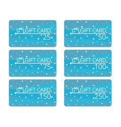 Gift cards with snowflakes and gift box discount vector