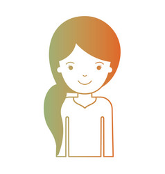 Half body woman with pigtail hairstyle in degraded vector