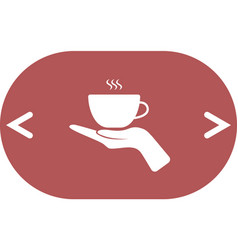 Hand with coffee cup sign icon vector