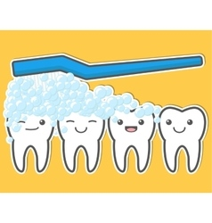 Happy cute teeth and toothbrush vector