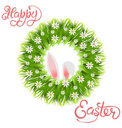 Happy easter green wreath of grass and chamomile vector