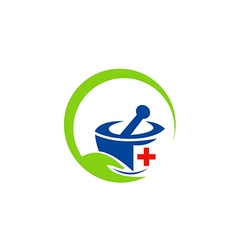 Herbal medicine traditional logo vector