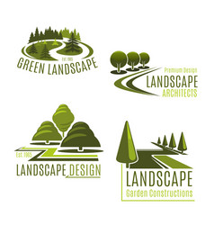 icons for nature landscaping company vector image