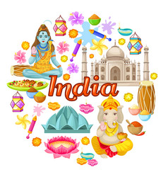 Indian culture icons round concept vector