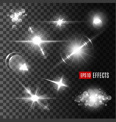 Light effect and flare set transparent background vector