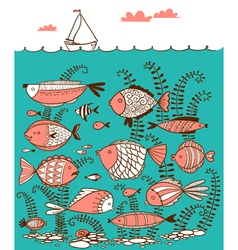 line art doodle with underwater fishes vector image vector image